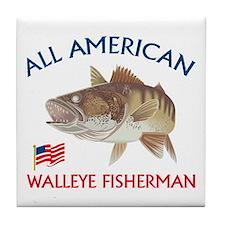 All american Walleye Fisherman Tile Coaster