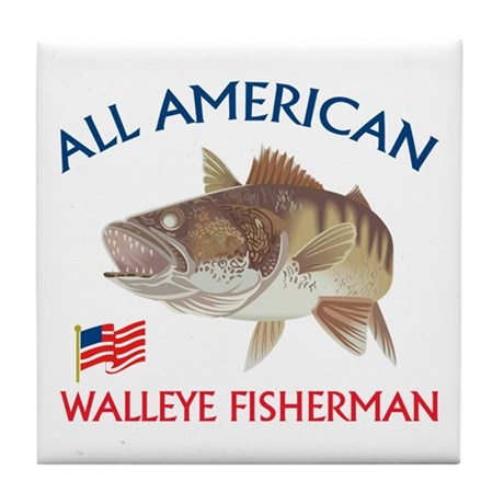 All american Walleye Fisherman Tile Coaster