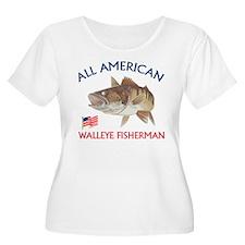 All american Walleye Fisherman T-Shirt