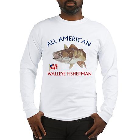 All american Walleye Fisherman Long Sleeve T-Shirt