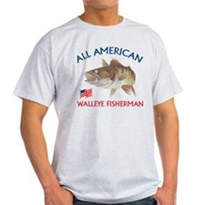 All american Walleye Fisherman T-Shirt