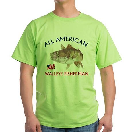 All american Walleye Fisherman Green T-Shirt
