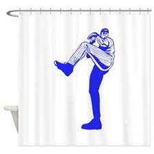Blue Tall Baseball Pitcher Shower Curtain