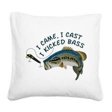 I Kicked Bass Square Canvas Pillow