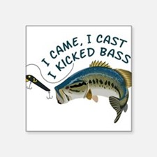 "I Kicked Bass Square Sticker 3"" x 3"""