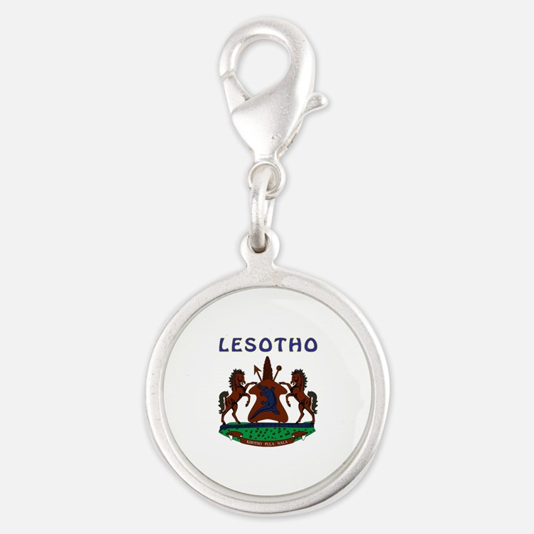 Lesotho Coat of arms Silver Round Charm