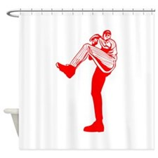 Red Tall Baseball Pitcher Shower Curtain