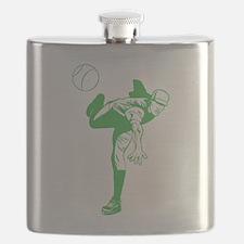 Green Baseball Pitcher Flask