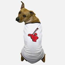 Red Baseball Batter Dog T-Shirt