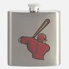 Red Baseball Batter Flask