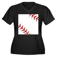 Baseball Close Up Women's Plus Size V-Neck Dark T-