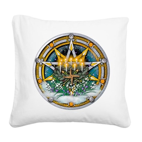 Imbolc Pentacle Square Canvas Pillow