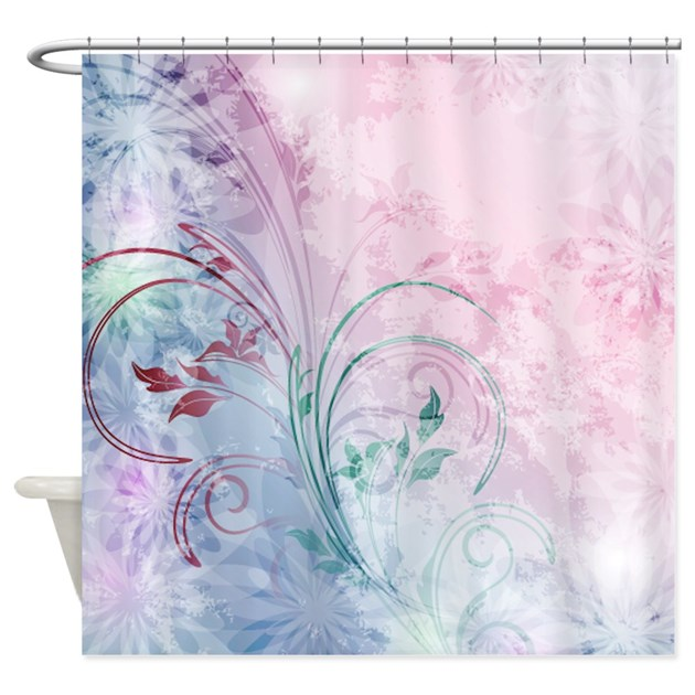 pink and blue floral shower curtain by ibeleiveimages. Black Bedroom Furniture Sets. Home Design Ideas