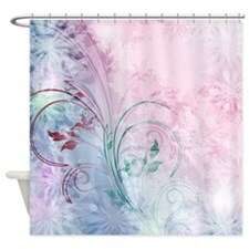 pink and blue floral Shower Curtain
