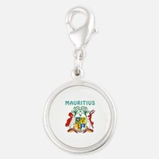 Mauritius Coat of arms Silver Round Charm