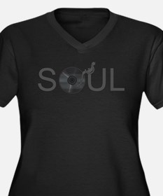 Soul Music Vinyl Women's Plus Size V-Neck Dark T-S