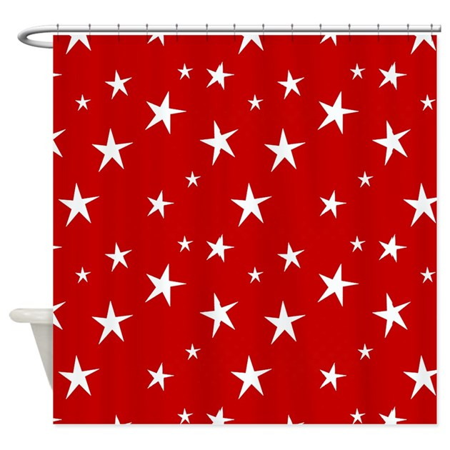 Red With Stars Shower Curtain By Ibeleiveimages