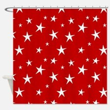 Red with stars Shower Curtain