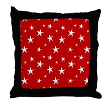 Red with stars Throw Pillow