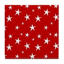 Red with stars Tile Coaster