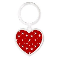 Red with stars Heart Keychain