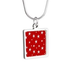 Red with stars Silver Square Necklace