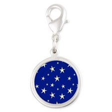 blue with stars Silver Round Charm