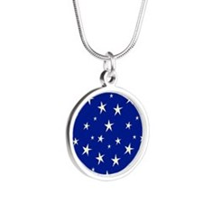 blue with stars Silver Round Necklace
