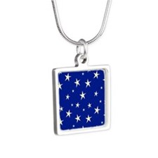 blue with stars Silver Square Necklace