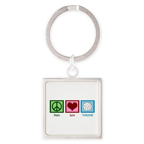 Peace Love Volleyball Square Keychain