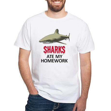 Sharks ate my Homework White T-Shirt