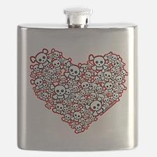 Pirate Skull Heart Flask