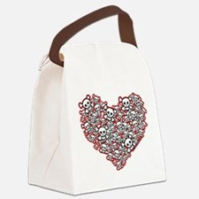 Pirate Skull Heart Canvas Lunch Bag
