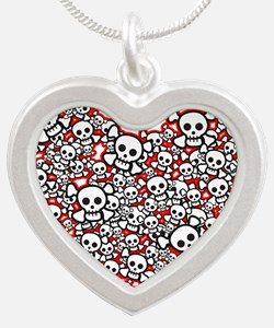 Pirate Skull Heart Silver Heart Necklace