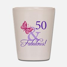 Unique 50 and fabulous birthday Shot Glass