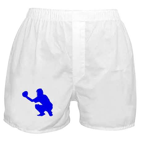 Blue Baseball Catcher Boxer Shorts