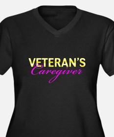 Navy Vet's Caregiver Women's Plus Size V-Neck Dark
