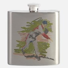 Baseball Pitcher Oil Painting Flask