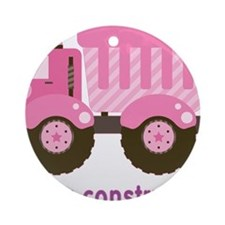 Under Construction Pink Truck Ornament (Round)
