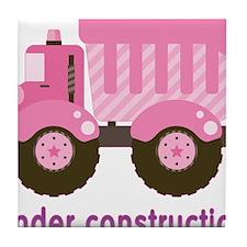 Under Construction Pink Truck Tile Coaster