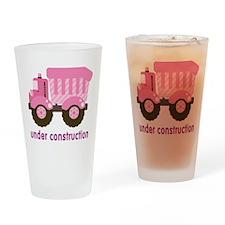 Under Construction Pink Truck Drinking Glass