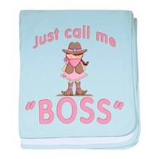 Cowgirl Call Me Boss baby blanket