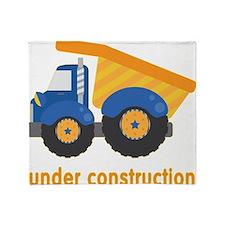 Under Construction Blue Truck Throw Blanket