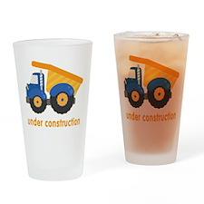 Under Construction Blue Truck Drinking Glass