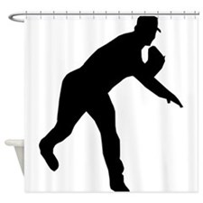 Baseball Pitcher Shadow Shower Curtain