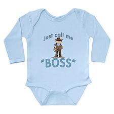 Cowboy Call Me BOSS Long Sleeve Infant Bodysuit