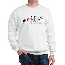 evolution female handball player comic Sweatshirt
