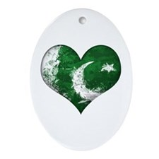 Pakistan Heart Ornament (Oval)