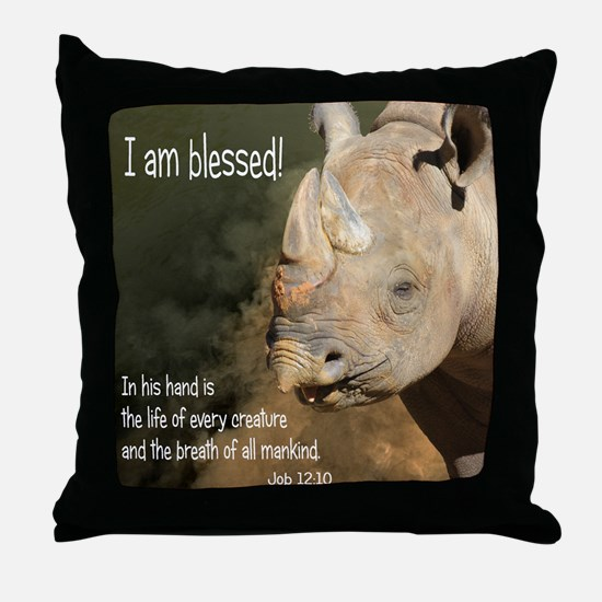Pillow Blessed Rhino.png Throw Pillow