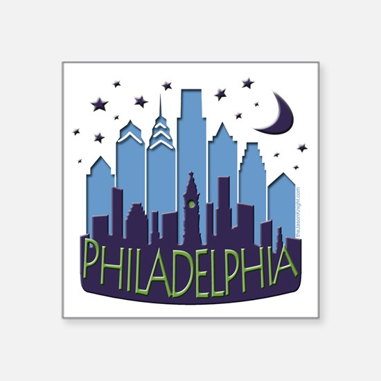 "Philly Skyline Mega Cool Square Sticker 3"" x 3"""